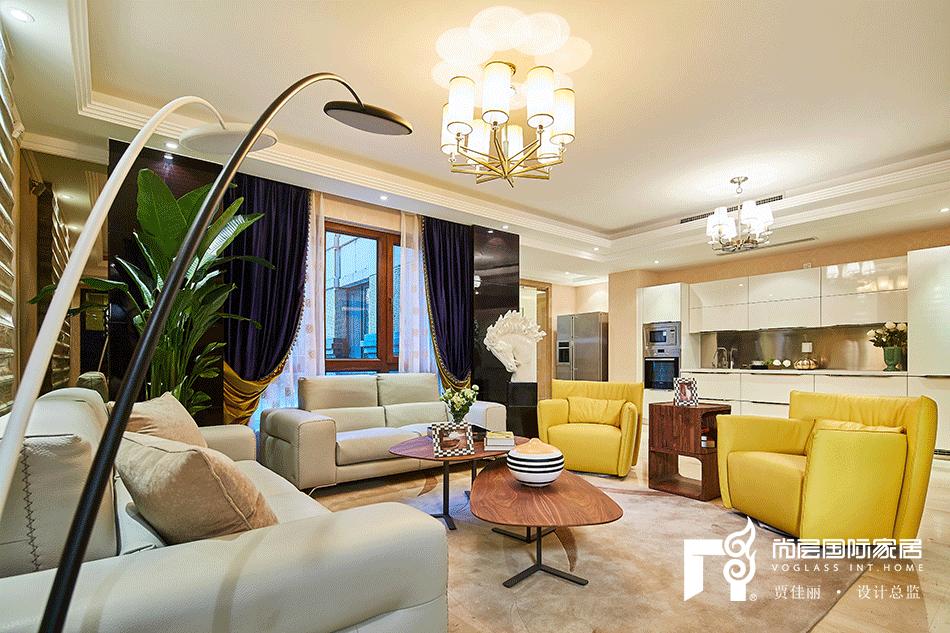 别墅新古典风格客厅软装装修设计