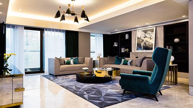 軟裝設計效果圖-上海華僑城蘇河灣現代輕奢軟裝案例