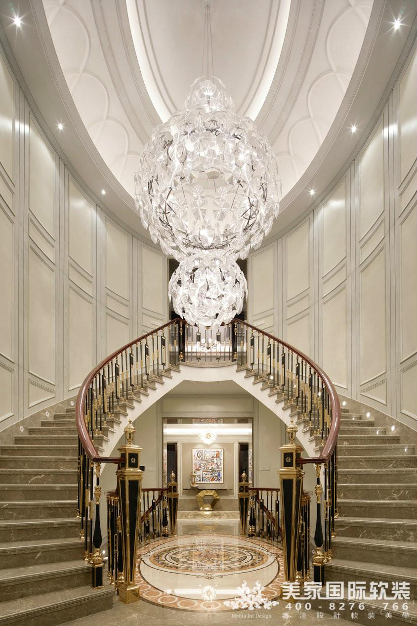 杭州软装装修设计-大奇山郡别墅软装楼梯间案例-现代轻奢风格
