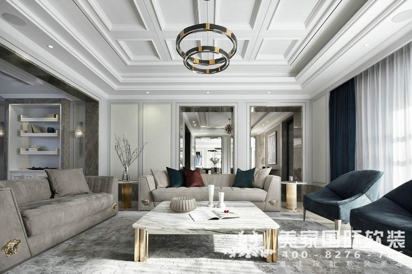 杭州软装装修设计-大奇山郡别墅软装客厅案例-现代轻奢风格