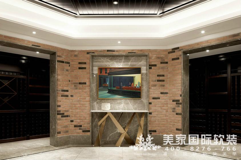 杭州软装装修设计-大奇山郡别墅软装酒窖案例-现代轻奢风格