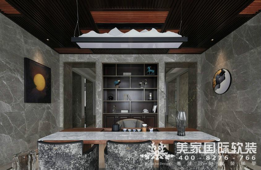 杭州软装装修设计-大奇山郡别墅软装茶室案例-现代轻奢风格