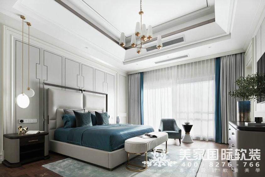 杭州软装装修设计-大奇山郡别墅软装主卧案例-现代轻奢风格