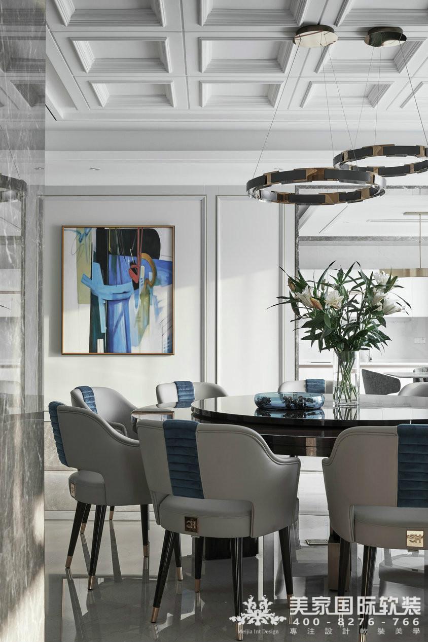杭州软装装修设计-大奇山郡别墅软装餐厅案例-现代轻奢风格
