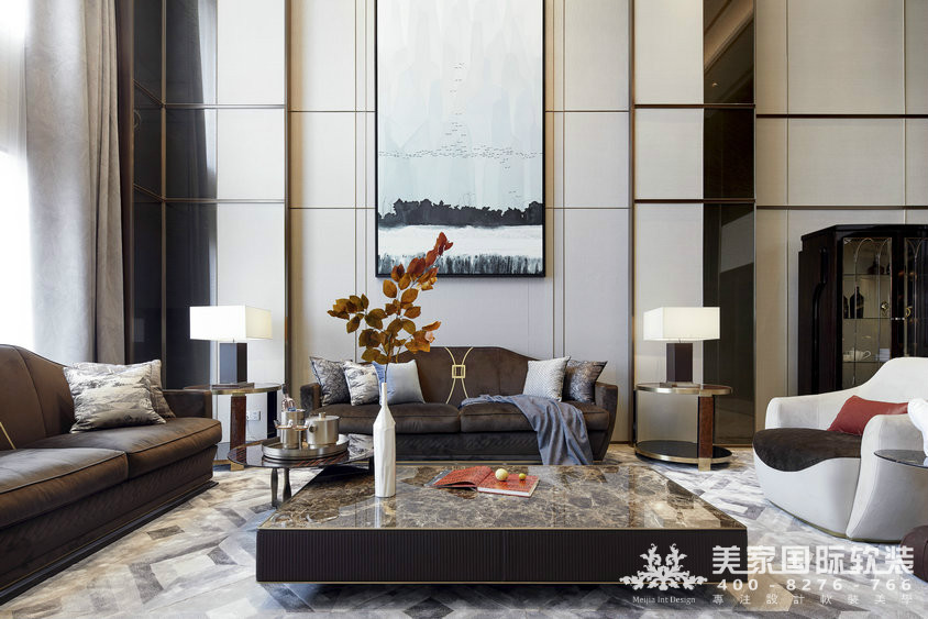 杭州軟裝設計-精裝房軟裝-萬麗璞麗客廳實例