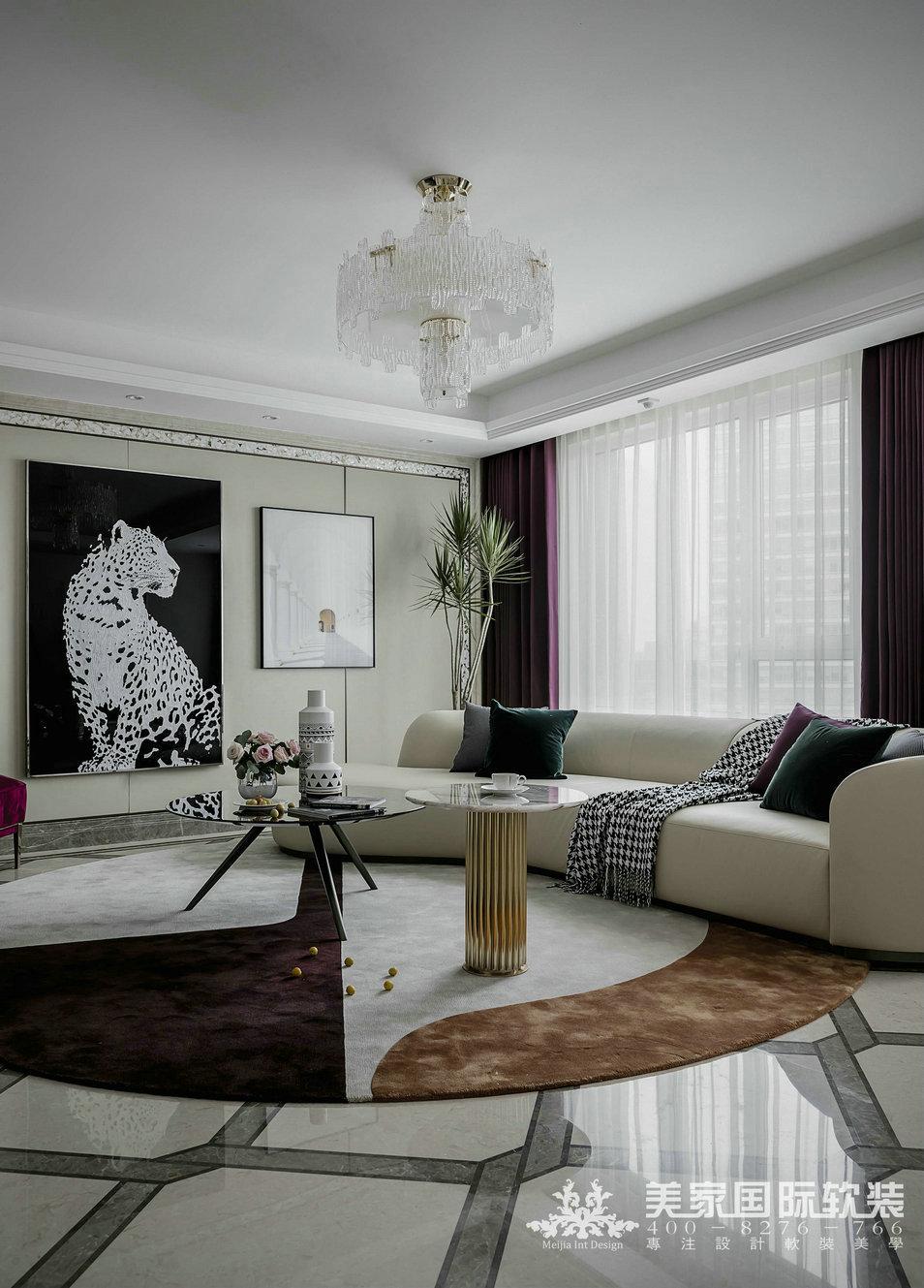 濱江金茂府軟裝修設計案例——新奢風格客廳實景圖片