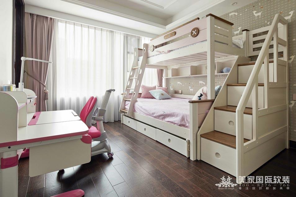嘉润公馆软装修设计案例——现代轻奢女儿房实景图片