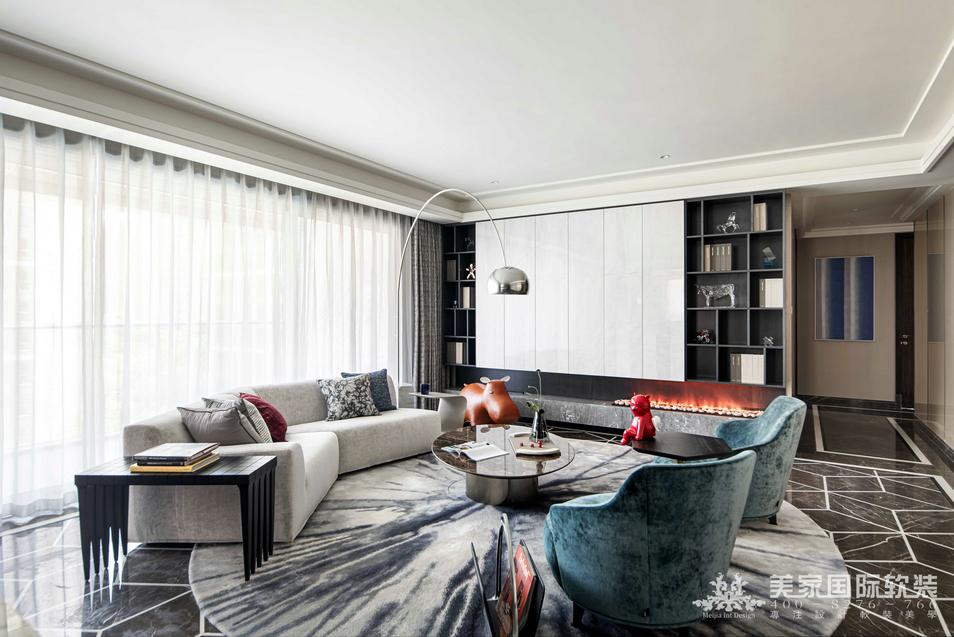 杭州信達壹品軟裝設計客廳實景案例——210㎡現代輕奢-美家國際軟裝設計公司
