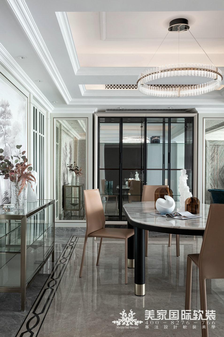 嘉潤公館軟裝設計實景案例——292㎡現代法式餐廳設計實景圖