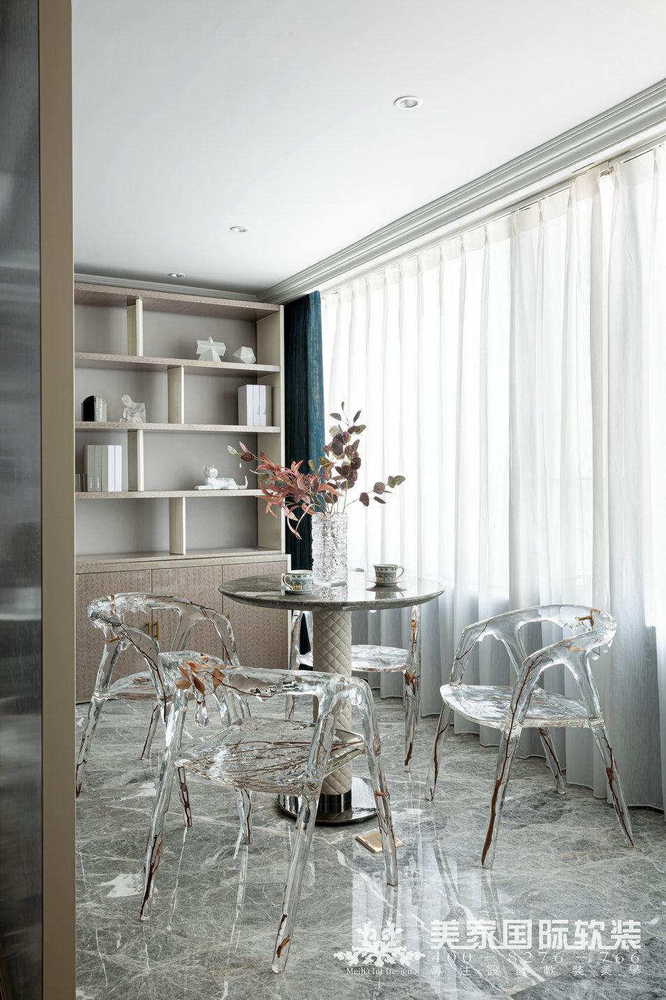 嘉潤公館軟裝設計實景案例——292㎡現代法式茶室設計實景圖
