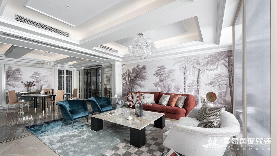嘉潤公館軟裝設計實景案例——292㎡現代法式客廳設計實景圖