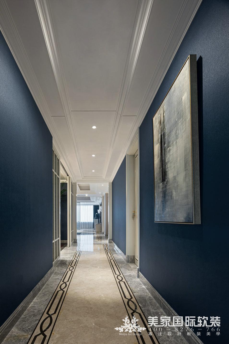 嘉潤公館軟裝設計實景案例——292㎡現代法式走廊設計實景圖