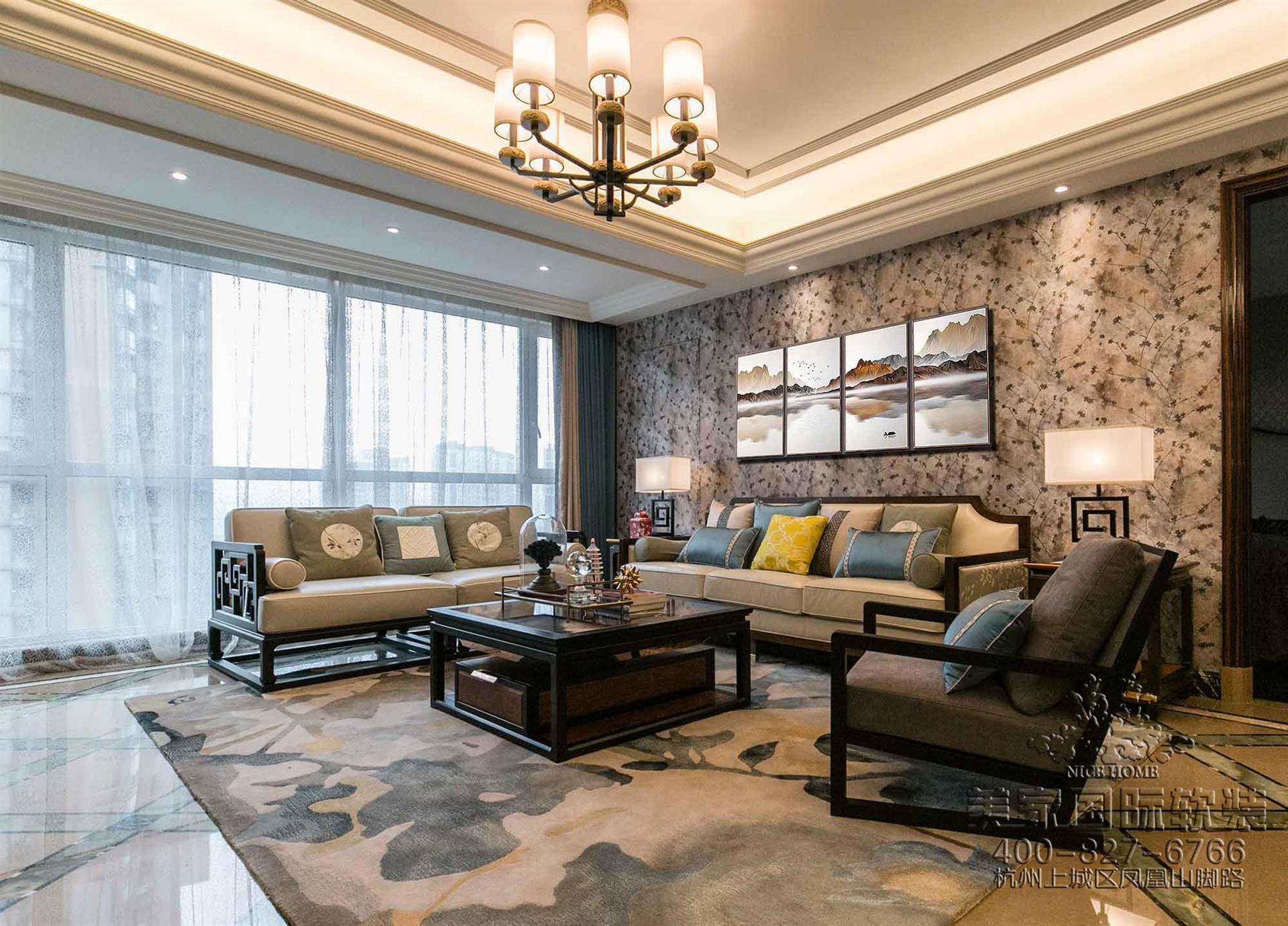 新中式風格客廳軟裝